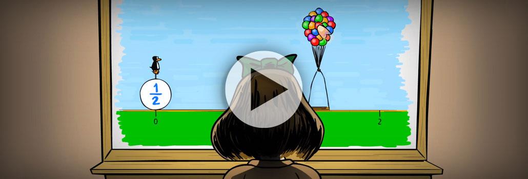 Girl learning math visually through ST Math's visual online math learning program